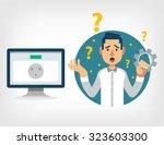 man with broken computer....   Shutterstock .eps vector #323603300