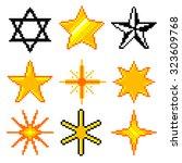 pixel stars for games icons... | Shutterstock .eps vector #323609768
