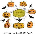 jack lantern sketch set | Shutterstock .eps vector #323610413