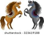 two beautiful cartoon horses... | Shutterstock .eps vector #323619188