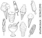 vector sketch set of ice cream. ... | Shutterstock .eps vector #323621390