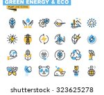 Flat Line Icons Set Of Green...
