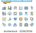 flat line icons set of online... | Shutterstock .eps vector #323625356