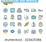 flat line icons set of health... | Shutterstock .eps vector #323625386