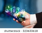 smartphone with finance and... | Shutterstock . vector #323633618