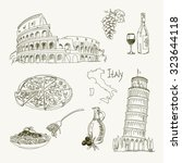 freehand drawing italy items on ... | Shutterstock .eps vector #323644118