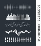 vector music sound waves set.... | Shutterstock .eps vector #323653703