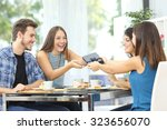 friends celebrating birthday... | Shutterstock . vector #323656070