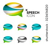 set of abstract speech bubble... | Shutterstock .eps vector #323656820