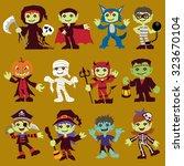 vintage halloween character... | Shutterstock .eps vector #323670104