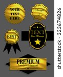 badges ribbons and labels set.... | Shutterstock .eps vector #323674826