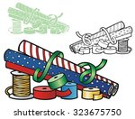 wrapping paper and ribbons for... | Shutterstock .eps vector #323675750
