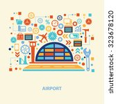 airport concept design on old... | Shutterstock .eps vector #323678120