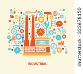 factory concept design on old... | Shutterstock .eps vector #323678150