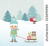 cute merry christmas card.... | Shutterstock .eps vector #323690984