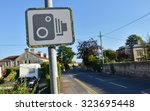view of a speed camera warning... | Shutterstock . vector #323695448