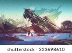spaceship crashed on blue field ... | Shutterstock . vector #323698610