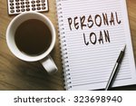 thinking on personal loan ... | Shutterstock . vector #323698940