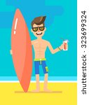 attractive young surfer on the... | Shutterstock .eps vector #323699324