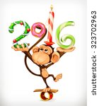 New Year  Monkey Vector Icon