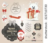 set of christmas ornaments and... | Shutterstock .eps vector #323710730