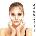 make up woman face. contour and ... | Shutterstock . vector #323711654