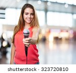 young woman offering a... | Shutterstock . vector #323720810