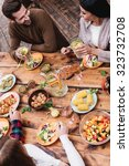 dinner with best friends. top... | Shutterstock . vector #323732708