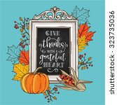 hand drawn thanksgiving vintage ... | Shutterstock .eps vector #323735036