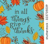 hand drawn thanksgiving vintage ... | Shutterstock .eps vector #323735039