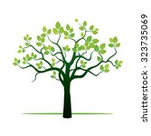 spring tree and green leafs.... | Shutterstock .eps vector #323735069