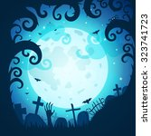 halloween poster and card.... | Shutterstock .eps vector #323741723