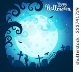 halloween poster and card.... | Shutterstock .eps vector #323741729