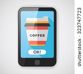 takeaway coffee flat icon with...   Shutterstock .eps vector #323747723