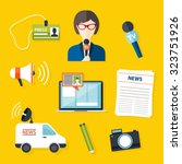 journalism press news reporter. ... | Shutterstock .eps vector #323751926