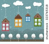 colorful eco houses for sale ... | Shutterstock .eps vector #323765318