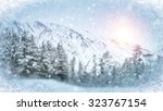 wintry scene through frozen... | Shutterstock . vector #323767154