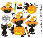 halloween cat vector... | Shutterstock .eps vector #323768960