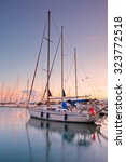 Small photo of Athens, Greece - October 01 2015: Sunset in Alimos marina in Athens, Greece