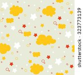 cute stars and clouds pattern... | Shutterstock .eps vector #323773139