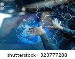 top view of businessman hand... | Shutterstock . vector #323777288