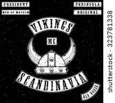 vikings gang leather jacket tee ... | Shutterstock .eps vector #323781338