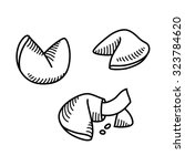 sketch style fortune cookie set.... | Shutterstock .eps vector #323784620