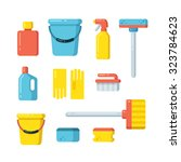cleaning supplies icons in flat ... | Shutterstock .eps vector #323784623