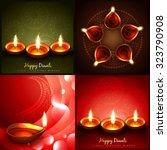 vector set of diwali beautiful... | Shutterstock .eps vector #323790908