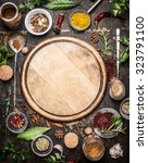 variety of herbs and spices ... | Shutterstock . vector #323791100