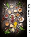 composition of hot spices and... | Shutterstock . vector #323791274