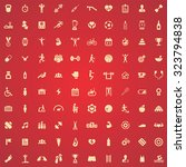 gym 100 icons universal set for ... | Shutterstock . vector #323794838