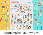 smartphone infographic set with ... | Shutterstock .eps vector #323794979