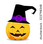 pumpkin with an evil expression ... | Shutterstock .eps vector #323798348